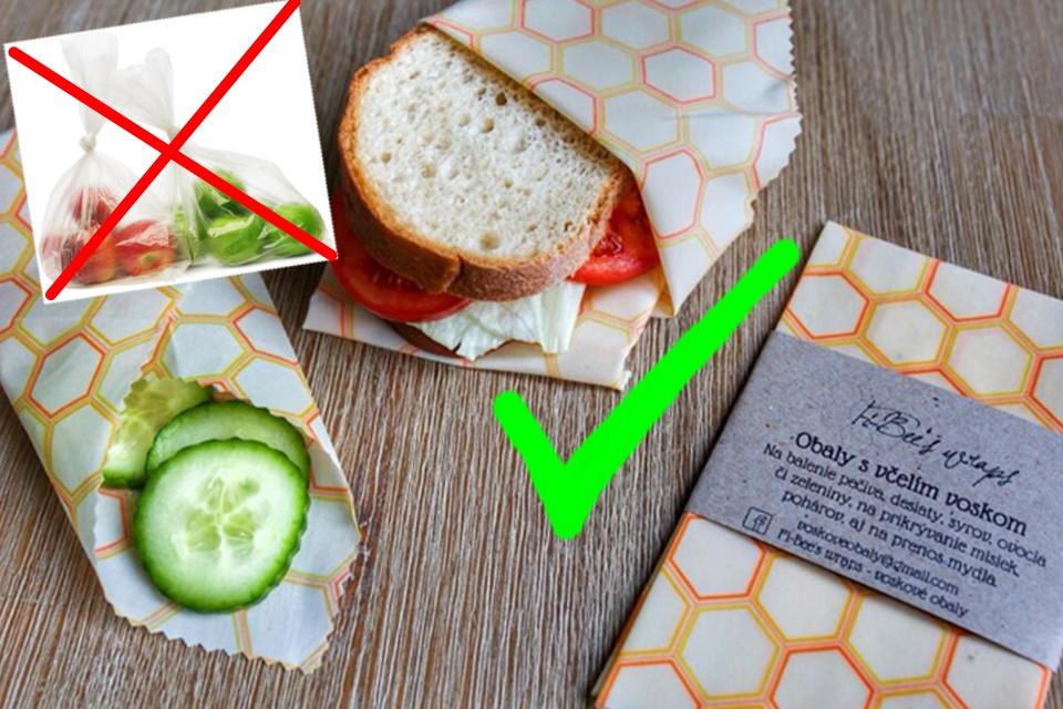 Balení potravin bez odpadu - do voskového wrapu značky Fi-Bee's wraps