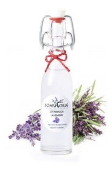 levandulová květová voda ve skleněné lahvičce
